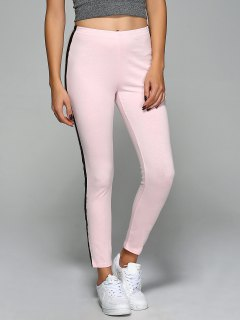 Elastic Waist Slim Ankle Gym Pants - Pink S