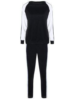 Contrast Sleeve Sweatshirt And Pants - White And Black S