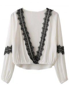 Lace Splicing Plongeant Neck Blouse - Blanc S