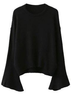 Llamarada De La Manga Del Suéter - Negro