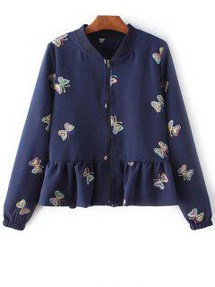 Flounce Ruffles Embroidered Jacket - Purplish Blue M