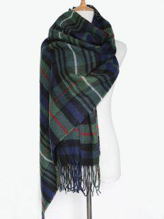 Double Color Plaid Fringe Scarf - Olive Green