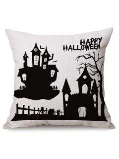 Antibacteria Sofa Cushion Happy Halloween Printed Pillow Case - White And Black