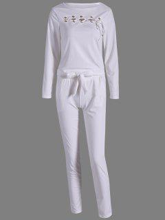 Lace Up Top à Manches Longues + Pantalons - Blanc S