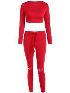Cropped Hoodie And Distressed Pants - Red S
