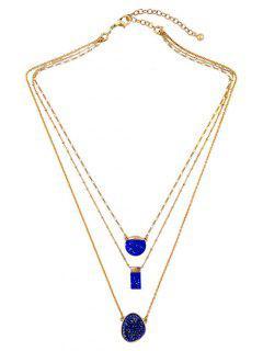 Geometric Faux Stone Necklace - Deep Blue