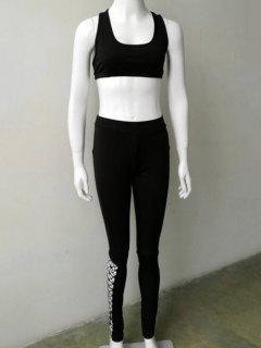 Openwork Sport Bra + Bodycon Pants - Black S