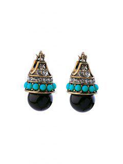 Carved Beaded Ball Earrings - Black