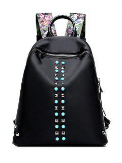 Butterfly Pattern Rivets Beading Backpack - Black