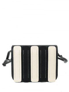 Stitching Covered Closure Color Spliced Crossbody Bag - Black
