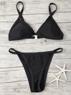 Spaghetti Strap Low Waisted Bikini - Black M