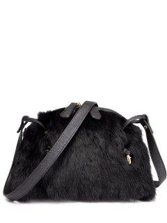 PU Leather Splicing Fuzzy Bag - Black
