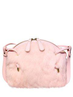 PU Leather Splicing Fuzzy Bag - Pink