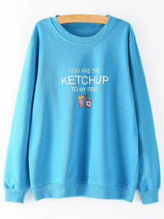 Sweatshirt  Grande Taille Avec Lettre Loose  - Bleu Clair 2xl