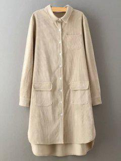 Corduroy High-Low Shirt - Crystal Cream L