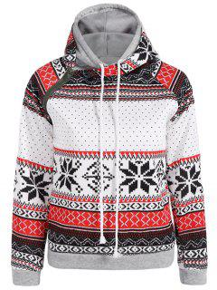 Snowflake Print Double Hooded Inclined Zipper Hoodie - White S