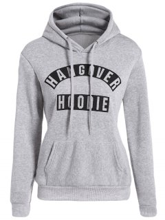 Front Pocket Letter Print Drawstring Hoodie - Light Gray L