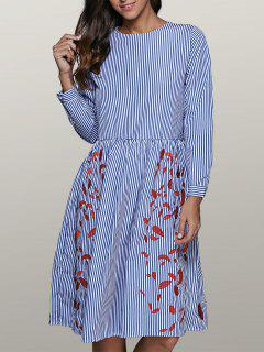 Striped Leaf Embroidered Smock Dress - Blue