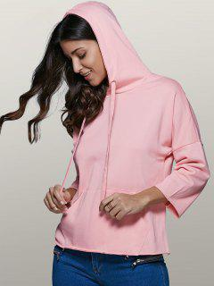 Big Pocket Long Sleeve Drawstring Hoodie - Pink S