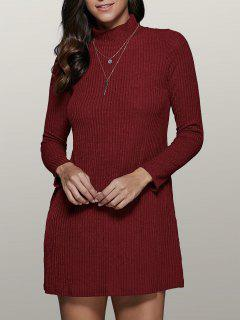 Mini A Line Long Sleeve Sweater Dress - Wine Red L