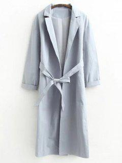 Buttonless Raglan Sleeve Trench Coat - Gray M