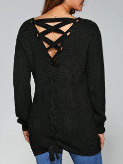 Drop Shoulder Lace Up Sweater - Black Xl