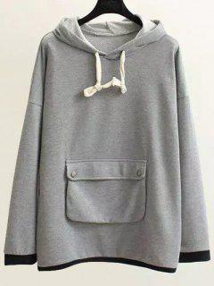 String Pocket Hoodie - Gray Xl