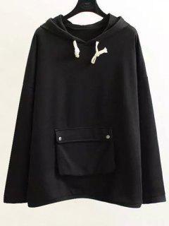 String Pocket Hoodie - Black Xl