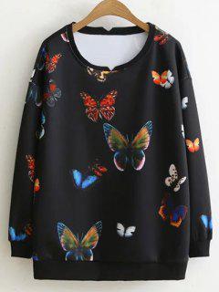 Colorful Butterfly Sweatshirt - Black Xl