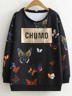 Carta De La Camiseta De La Mariposa - Negro Xl