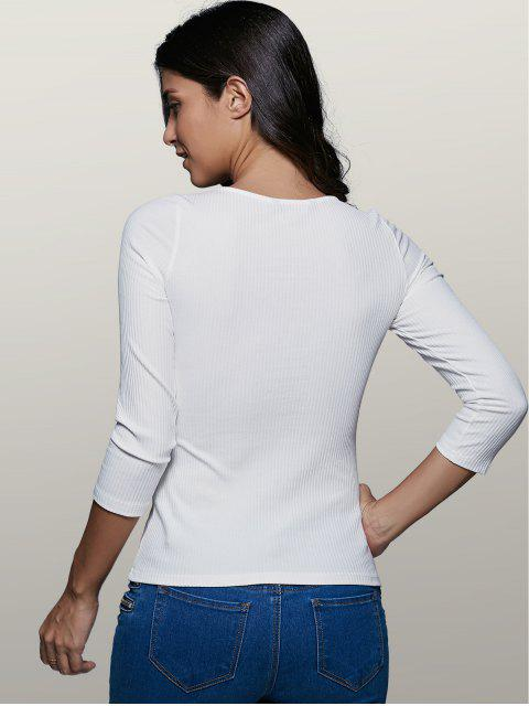 fancy Lace-Up Stretchy Plunging Neck T-Shirt - WHITE S Mobile