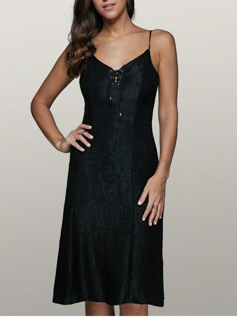 outfit Lace-Up Fitting Slip Dress - BLACK XL Mobile