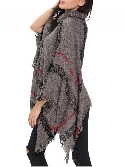 affordable Turtle Neck Checked Knit Poncho - GRAY ONE SIZE Mobile