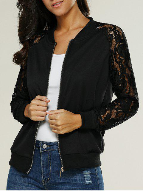 womens Lace Insert Bomber Zip Up Jacket - BLACK M Mobile