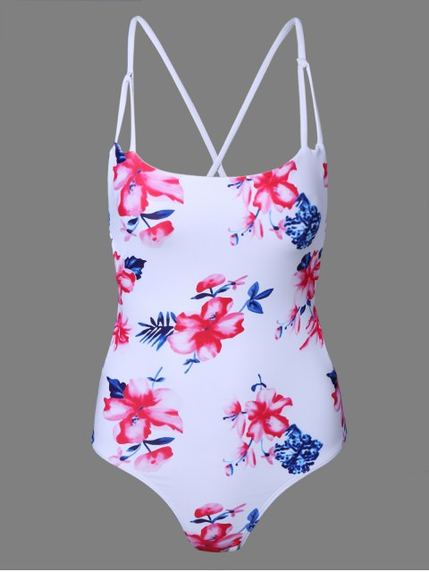 affordable Floral Print One-Piece Swimsuit - WHITE M Mobile