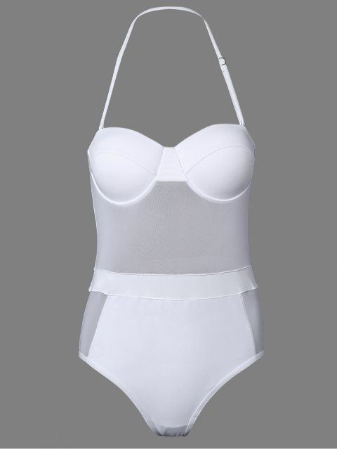 online One-Piece Bandeau See Through Bathing Suit - WHITE M Mobile