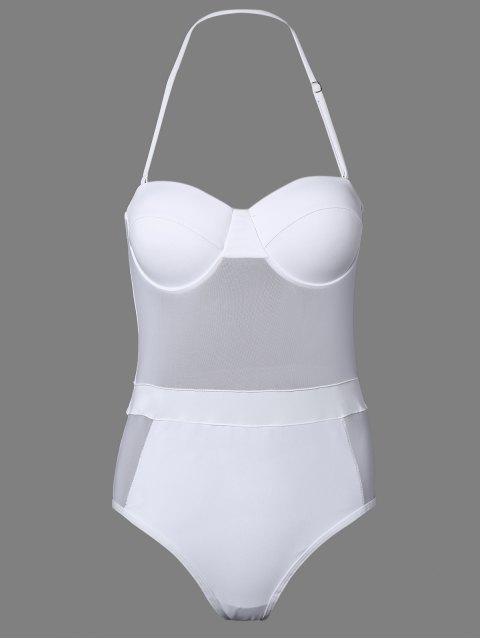 Einteiliger Bandeau Durchsichtiger-Badeanzug - Weiß L Mobile