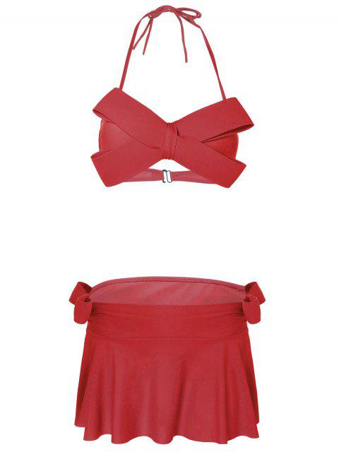 Halter bowknot rembourrée skirtini - Rouge XL Mobile