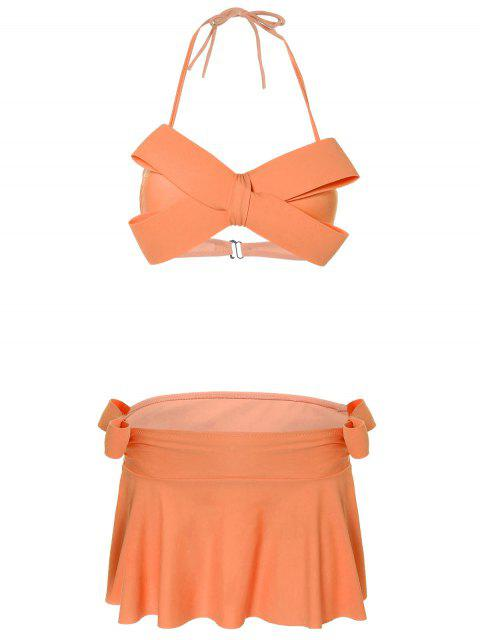 Halter Bowknot Gepolsterte Skirtini - orange  M Mobile