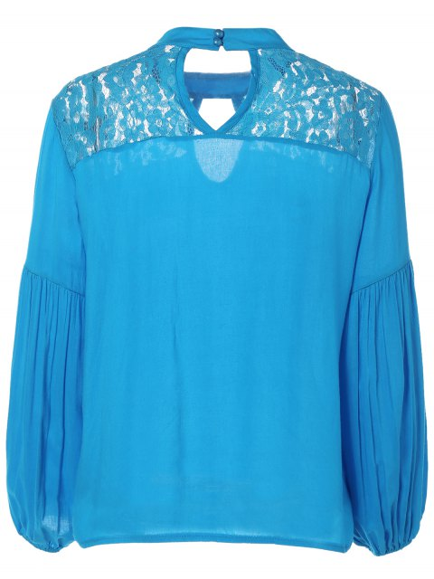 lady Lace Yoke Puffed Sleeve Top - BLUE XL Mobile