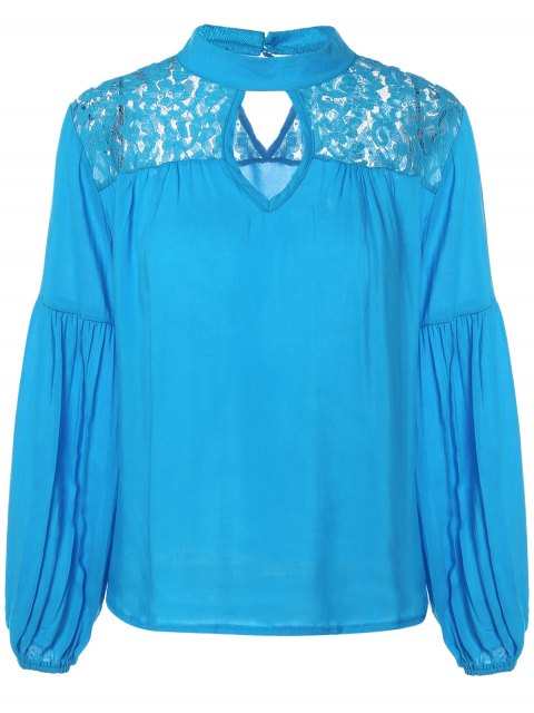 online Lace Yoke Puffed Sleeve Top - BLUE M Mobile