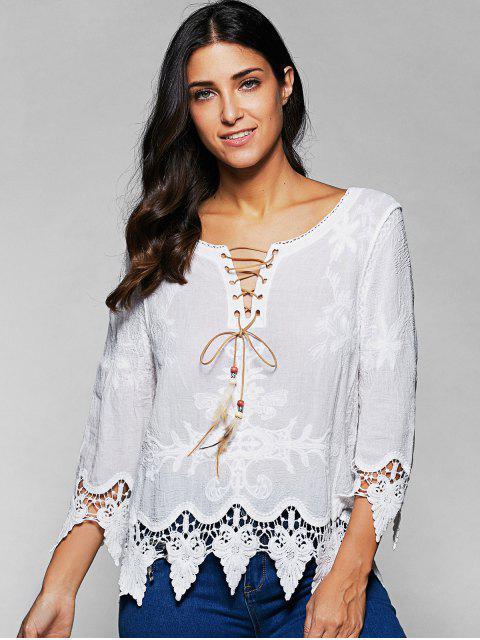 V Neck Lace Up laçage Blouse - Blanc TAILLE MOYENNE Mobile