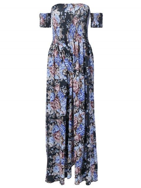 women's Vintage Floral Print Slit Off The Shoulder Dress - BLACK ONE SIZE Mobile