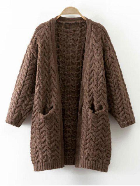latest Thickening Cable Knit Cardigan - COFFEE ONE SIZE Mobile