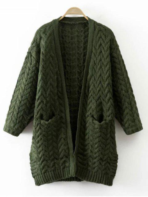 fashion Thickening Cable Knit Cardigan - GREEN ONE SIZE Mobile
