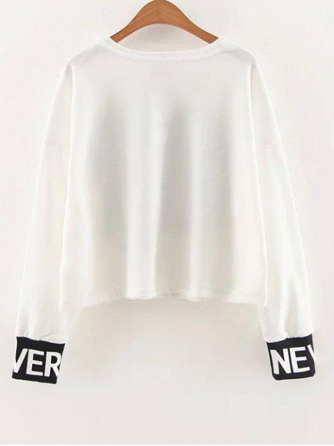 ladies Slouchy Dropped Shoulder Graphic Sweatshirt - WHITE S Mobile
