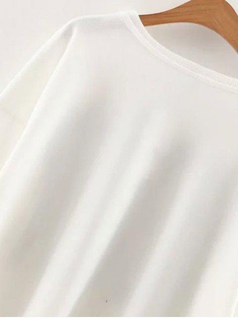 Slouchy Dépouillé épaule Sweatshirt Graphic - Blanc S Mobile
