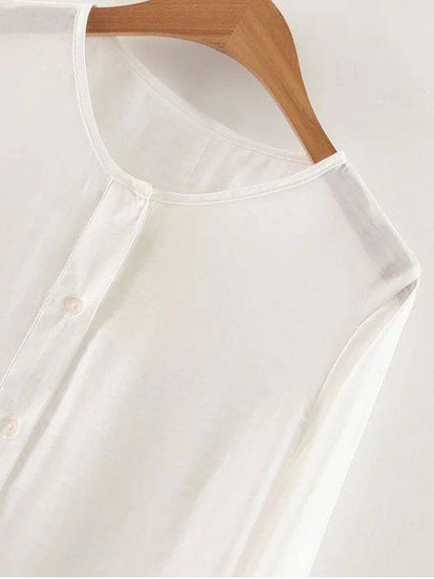 womens Long Sleeve Buttoned Tunic Top - WHITE S Mobile