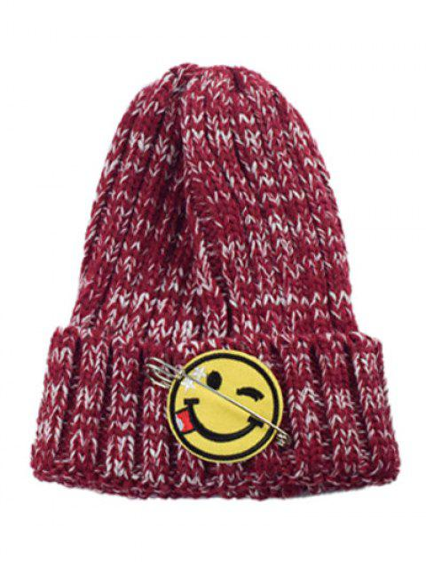 lady Smile Face Pin Knitted Hat - DEEP RED  Mobile