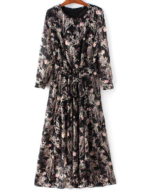best Chiffon Belted Floral Dress - BLACK L Mobile